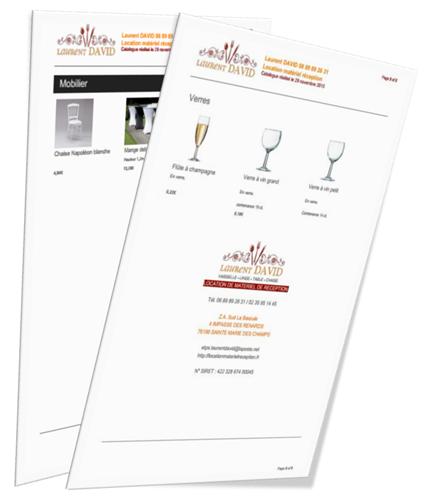 Catalogue location de matériel de réception.